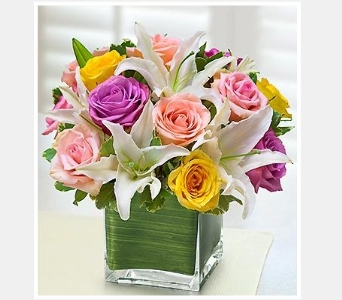 Pastel Rose and White Lily Cube Bouquet in Bradenton FL, Ms. Scarlett's Flowers & Gifts