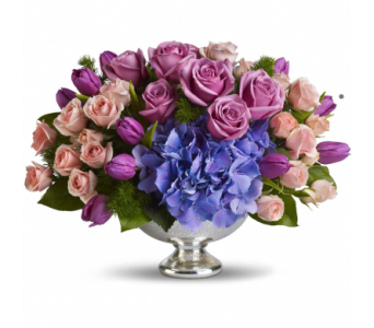 Purple Elegance Centerpiece in Norristown PA, Plaza Flowers