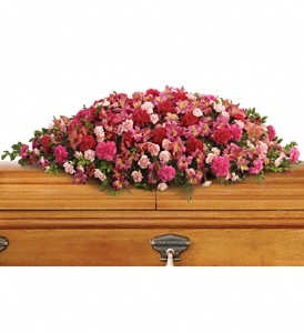 A Life Loved Casket Spray in Bakersfield CA, White Oaks Florist