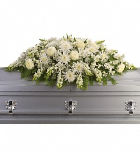 Enduring Light Casket Spray in Saratoga Springs NY, Dehn's Flowers & Greenhouses, Inc