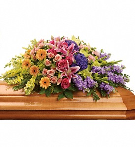 Garden of Sweet Memories Casket Spray in Eugene OR, Rhythm & Blooms