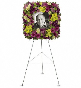 Mosaic of Memories Square Easel Wreath in Terrace BC, Bea's Flowerland