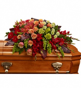 A Fond Farewell Casket Spray in East Quogue NY, Roses And Rice