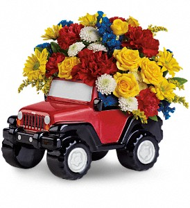Jeep Wrangler King Of The Road by Teleflora in The Woodlands TX, Rainforest Flowers