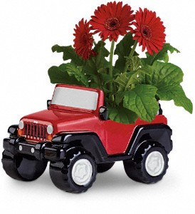 Teleflora's Freewheelin' Jeep Wrangler in The Woodlands TX, Rainforest Flowers