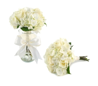 Wedding Bouquet of Roses & Hydrangea (Metro-Detrio in Southfield MI, Thrifty Florist