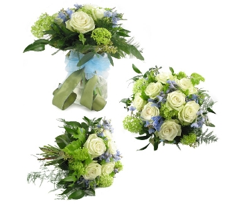 Green & Light Blue Wedding Bouquet (Metro-Detroit  in Southfield MI, Thrifty Florist