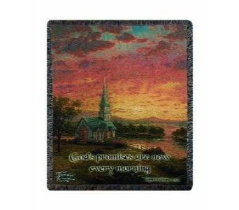 Thomas Kinkade Sunrise Chapel throw in Crown Point IN, Debbie's Designs