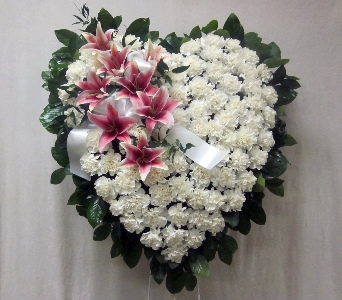 White Heart With Lilies in Bayside NY, Bell Bay Florist