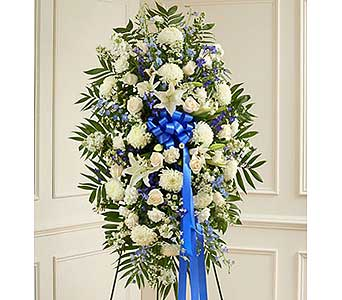 Blue and White Sympathy Standing Spray in Jersey City NJ, Hudson Florist