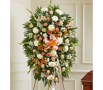 Peach, Orange and White Sympathy Standing Spray in Jersey City NJ, Hudson Florist