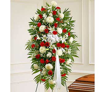 Red and White Sympathy Standing Spray in Jersey City NJ, Hudson Florist