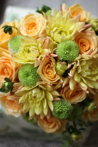 Yellow and Green Bouquet in Cerritos CA, The White Lotus Florist