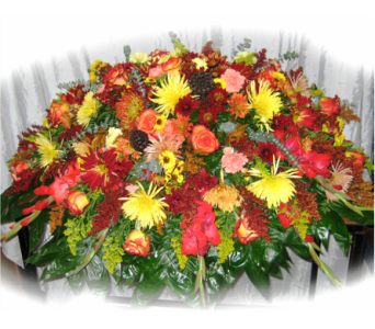 Cascade of Colors Casket Spray in Lake Charles LA, A Daisy A Day Flowers & Gifts, Inc.