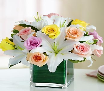 Modern Embrace Pastel Rose and Lily Cube in El Cajon CA, Conroy's Flowers