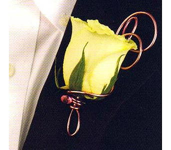 Rose Boutonniere with wire accent in Corunna ON, KAY'S Petals & Plants