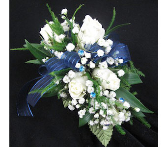 5 White Sweetheart Rose Wristlet Corsage in Wichita KS, Tillie's Flower Shop
