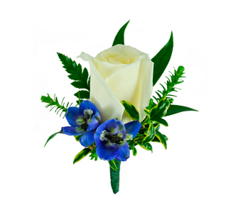 Rose Boutonniere with Blue Delphinium in Ogden UT, Jimmy's Flowers
