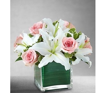 Modern Embrace� Pink Rose & Lily Cube  in Concord CA, Jory's Flowers