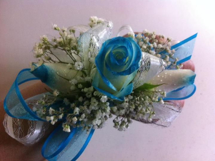 Teal Prom Corsage in Modesto CA, Flowers By Alis