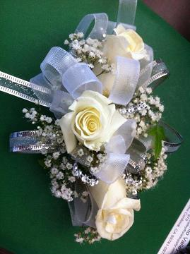 White wrest corsage in Modesto CA, Flowers By Alis
