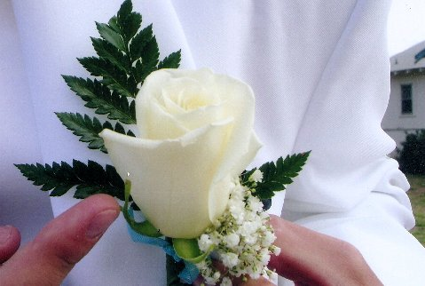 White Rose  Boutonniere  in Modesto CA, Flowers By Alis