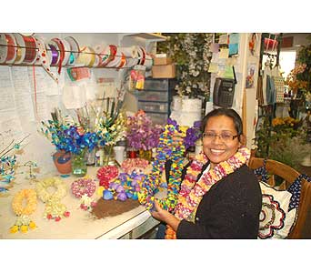 making fresh Leis from our shop in San Diego CA, Flowers Of Point Loma