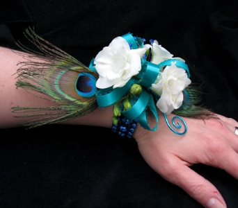 Peacock Feather Wrist Corsage in Portland ME, Dodge The Florist