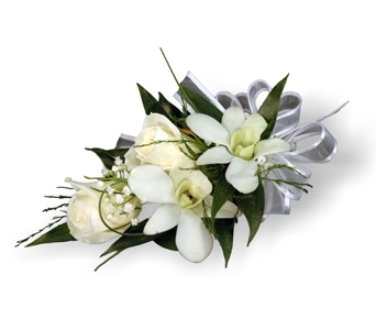 White Rose & Dendro Corsage in Aurora ON, Caruso & Company