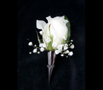 Classic White Rose Boutonniere in Portland ME, Dodge The Florist