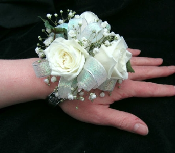 Classic White Rose Wrist Corsage in Portland ME, Dodge The Florist