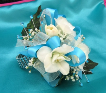 Turquoise and White Wrist Corsage in Portland ME, Dodge The Florist