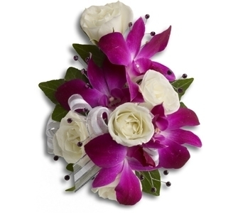 Purple Dendro and White Roses in Aurora ON, Caruso & Company