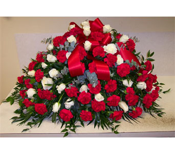 Carnations and Roses Casket Spray in Bayside NY, Bell Bay Florist