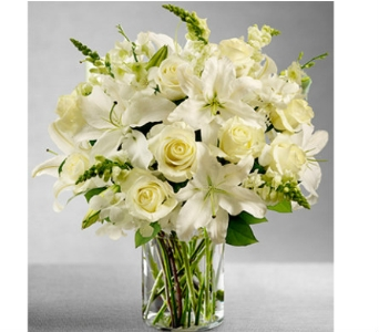 Classic All-White Arrangement in Watertown CT, Agnew Florist