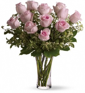 A Dozen Pink Roses in Merced CA, A Blooming Affair Floral & Gifts