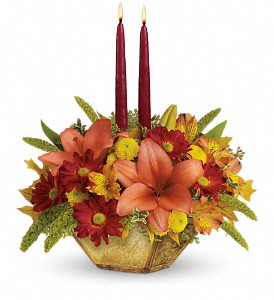 Teleflora's Autumn Reflections Centerpiece in Grass Lake MI, Designs By Judy