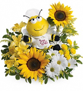 Teleflora's Bee Well Bouquet in Menomonee Falls WI, Bank of Flowers