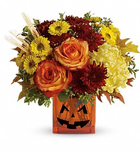 Teleflora's Halloween Glow in North Syracuse NY, The Curious Rose Floral Designs