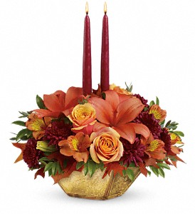 Teleflora's Harvest Gold Centerpiece in The Woodlands TX, Rainforest Flowers