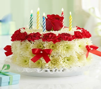 Birthday Flower Cake in Bright in Manhattan KS, Westloop Floral