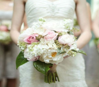 White & Pink Bridal Bouquet in Knoxville TN, The Flower Pot