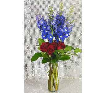 Delphinium & Red Roses Vase in Port St Lucie FL, Flowers By Susan