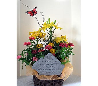 Blooming Basket with Memory Stone in Crafton PA, Sisters Floral Designs