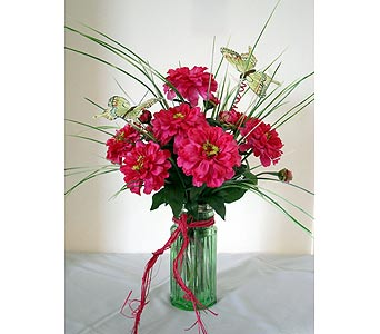 Pink Zinnias in Crafton PA, Sisters Floral Designs
