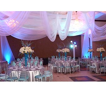 Blue Silver with ceiling draping in TAMPA FL, Milly's Flowers