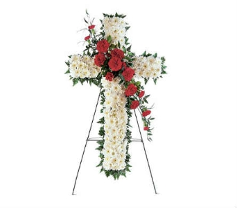 Standing Red and White Cross in Warren MI, Downing's Flowers & Gifts Inc.