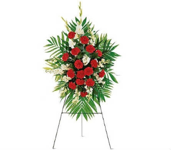 Standing Spray Red and White in Warren MI, Downing's Flowers & Gifts Inc.