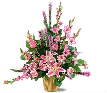 Sympathy Design of Pinks and Purples in Warren MI, Downing's Flowers & Gifts Inc.