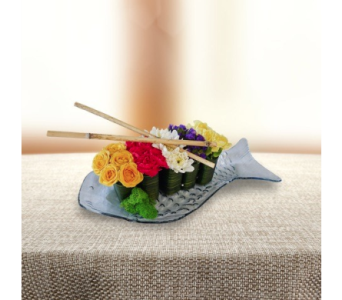 Flower Sushi on Fish Plate in Dallas TX, In Bloom Flowers, Gifts and More